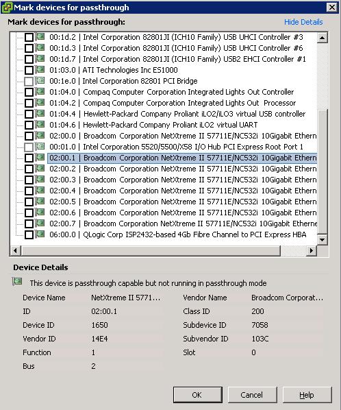 vmdirectpath I/O setup