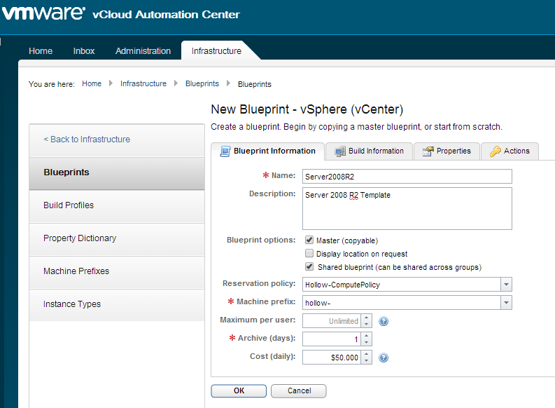 Vrealize automation 6 blueprints and catalogs click the build information tab select the blueprint type of server action clone and then the provisioning workflow cloneworkflow malvernweather Choice Image