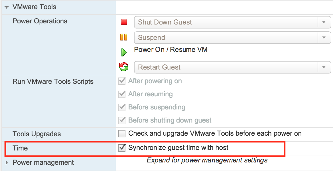 VMware Tools TIme Syncronization