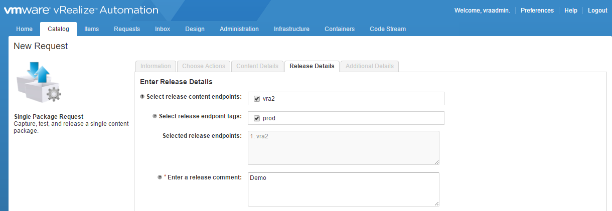 Using vrealize code stream management pack for it devops the it on the release details tab youll need to select the content endpoint where youll be deploying the new blueprints you can also select tags and place a malvernweather Images
