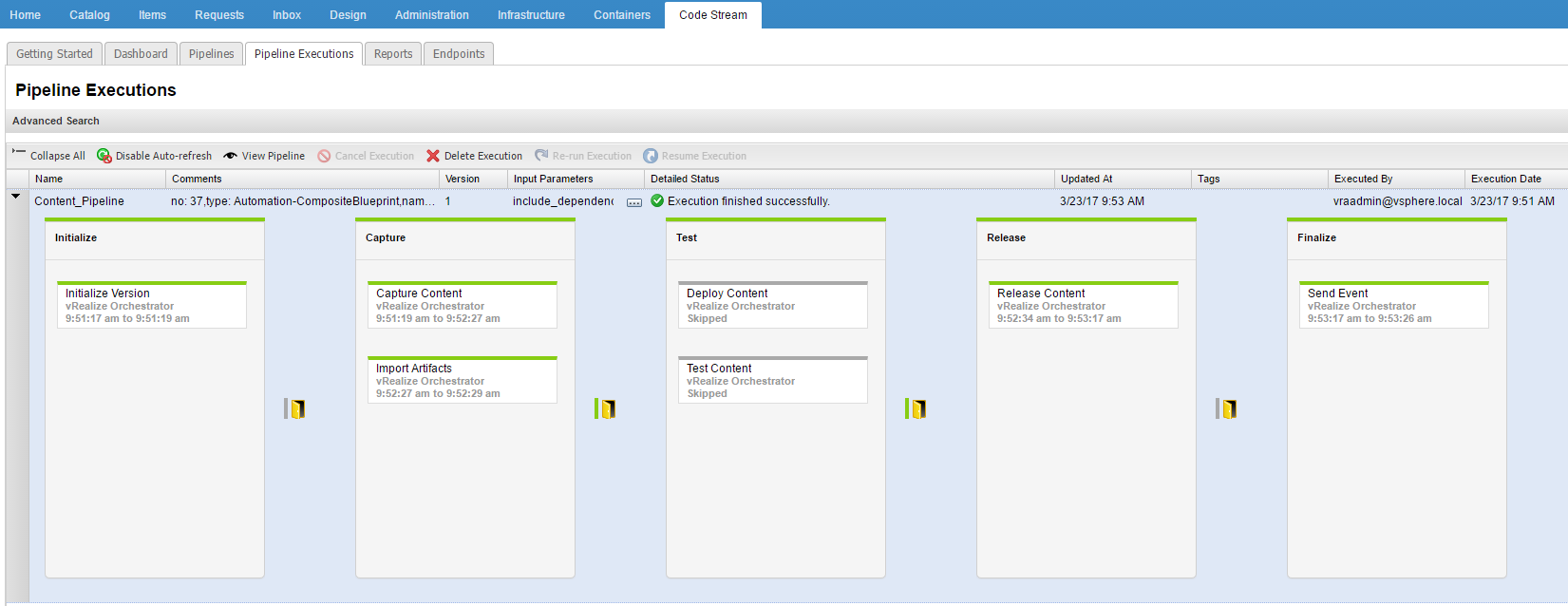 Using vrealize code stream management pack for it devops the it once the pipeline has executed successfully you can login to your vra production instance youll see that the server2016 blueprint has been moved over and malvernweather Gallery