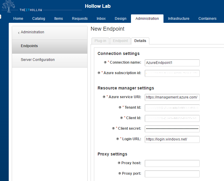 Adding an Azure Endpoint to vRealize Automation 7 - The IT