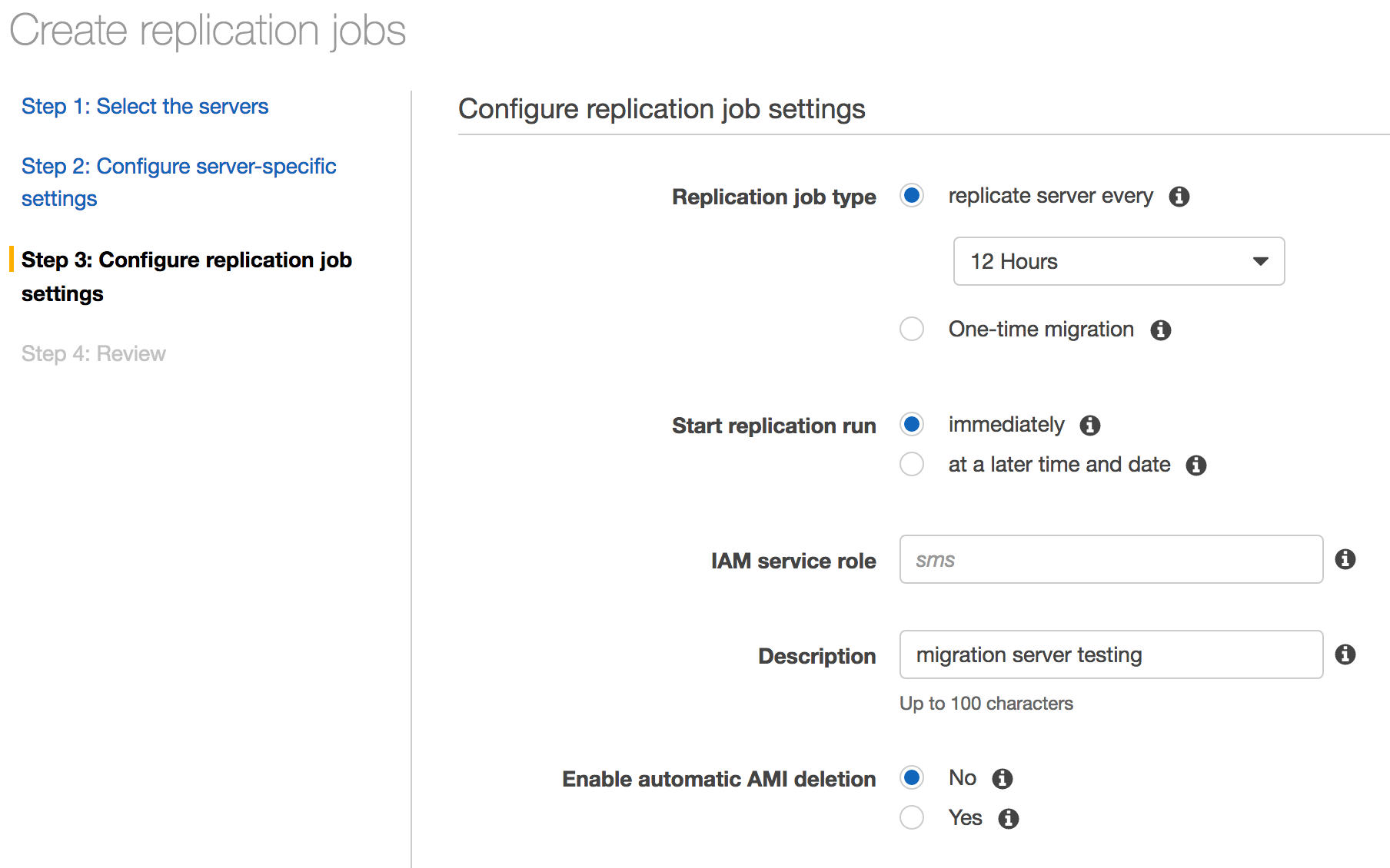 Migrate vsphere vms to amazon with aws server migration service the last option is whether or not to delete the old amis when a new replication run is done xflitez Images