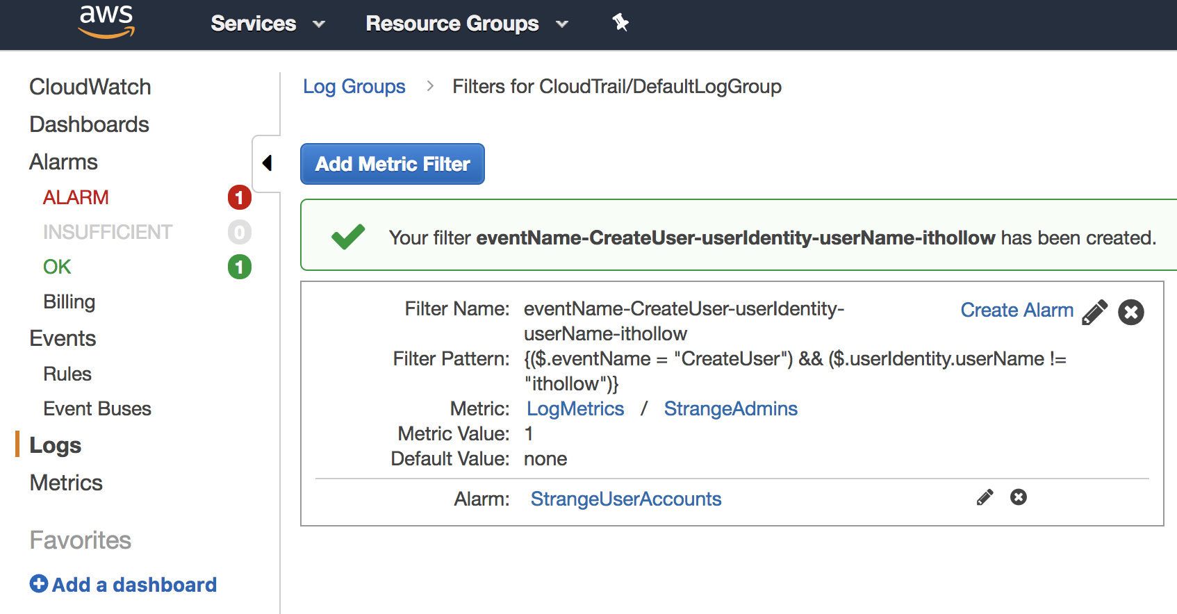 Use Amazon CloudWatch Logs Metric Filters to Send Alerts